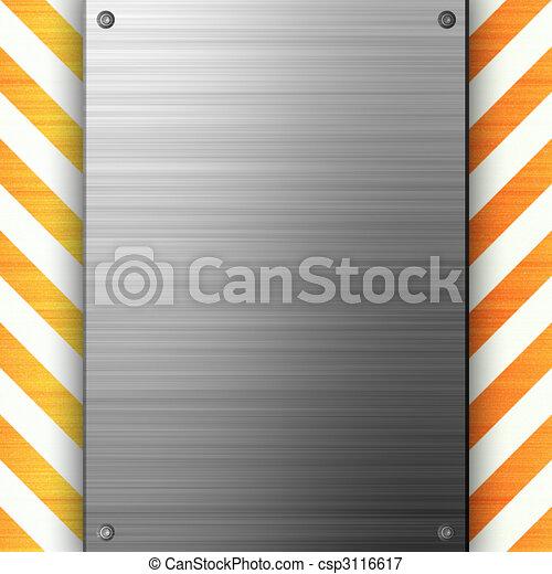 Hazard Stripes Brushed Metal - csp3116617