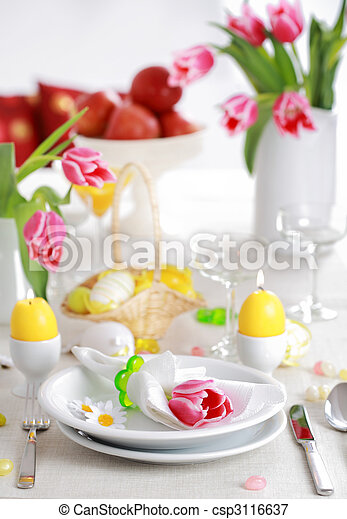Easter table setting - csp3116637