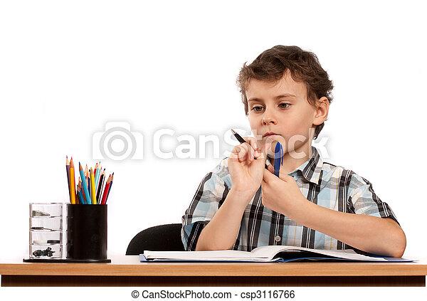 Schoolboy doing homework - csp3116766