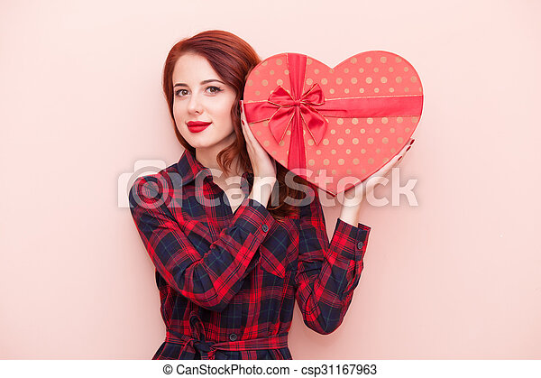 caucasian girl with gift box