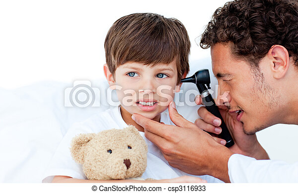 Concentrated doctor examining patient's ears - csp3116933