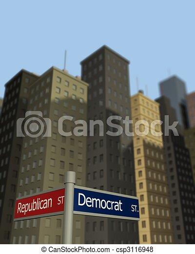 Democrat and Republican Streets - csp3116948