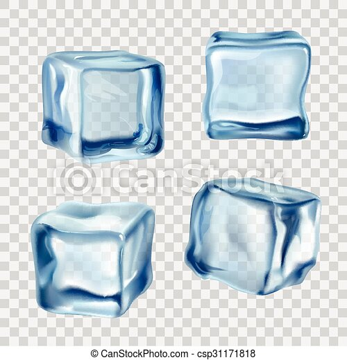 Vector Clip Art of Ice Cubes Blue Transparent - Realistic blue ...