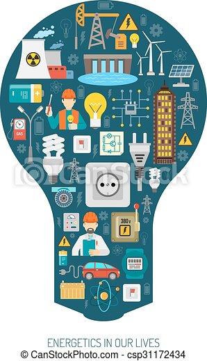 Vectors of Energy production consumption concept bulb ...