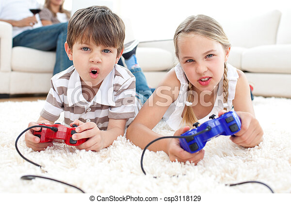 Animated children playing video games - csp3118129