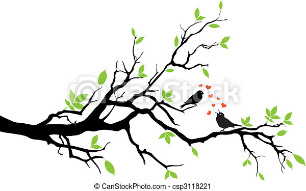 Vector Clip Art of spring - love birds sitting on a tree, vector ...