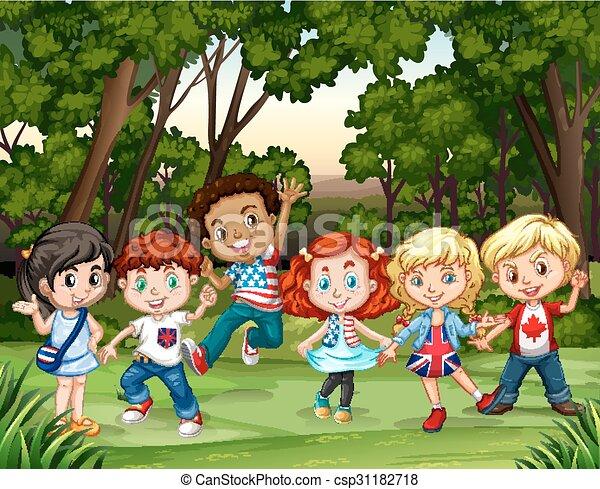 vektor clip art von gruppe  wald  kinder group  von boy scout logo meaning boy scout logo eps