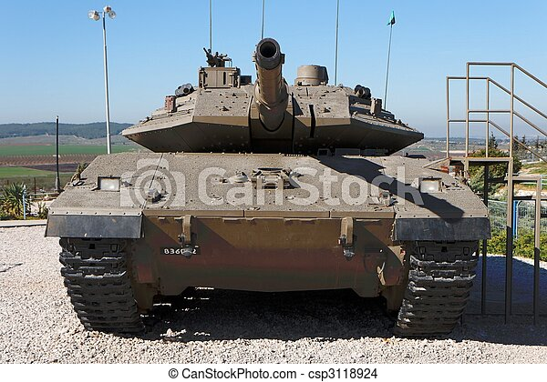 New Israeli Merkava Mark IV tank in Latrun Armored Corps museum - csp3118924