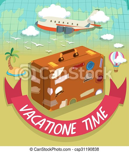 Vectors Of Vacation Time With Luggage And Plane