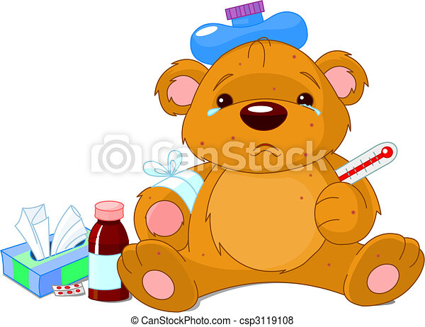 Sick  Teddy Bear - csp3119108