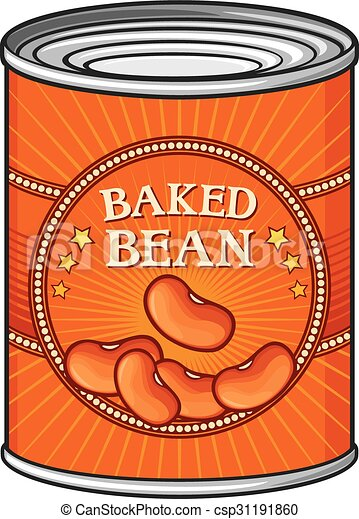 Clip Art Vector of tin of baked beans (can of baked beans ...