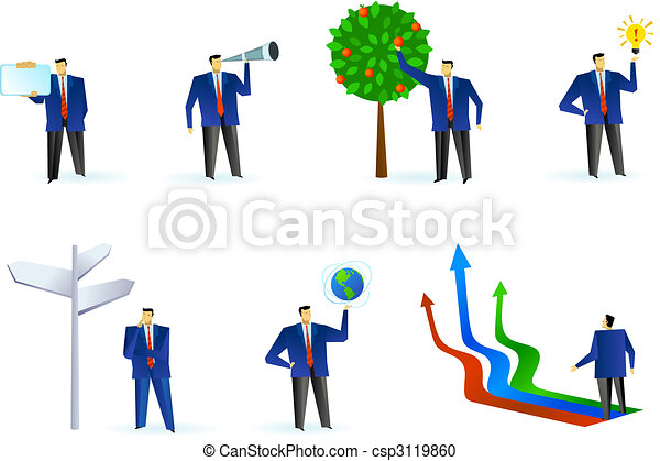 Collection of abstract business people logos - csp3119860