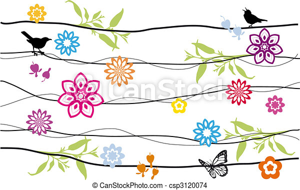 flowers and birds - csp3120074