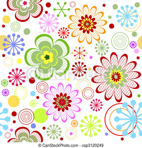 Seamless floral vivid pattern (vector) - csp3120249