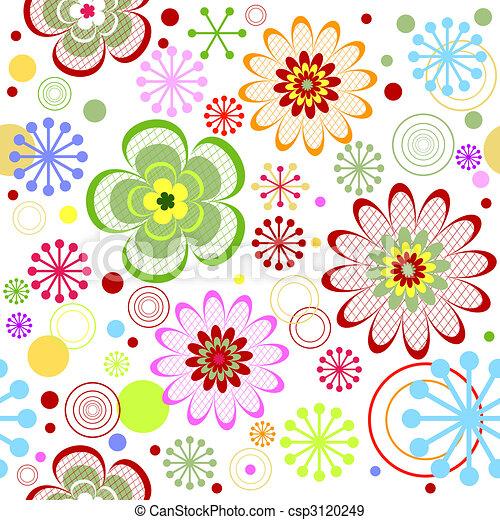 Seamless floral vivid pattern (vector) - csp3120249
