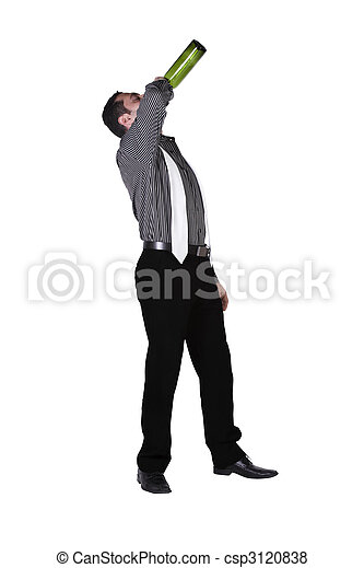 Drunk Businessman drinking straight out of the bottle - csp3120838