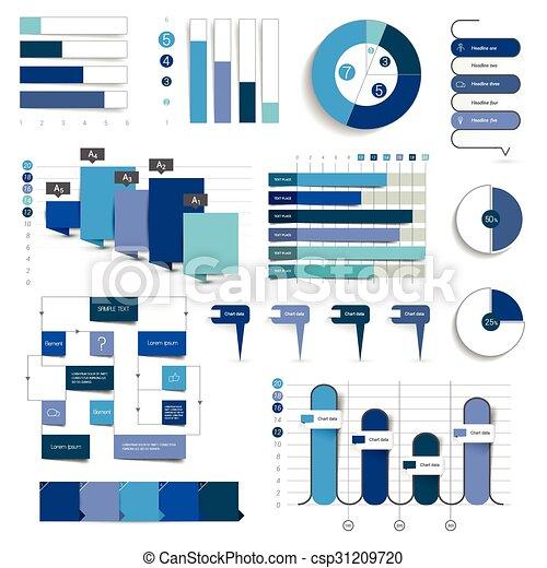 藍色, 圖表, flowcharts., 彙整, color., 圖, infographics - csp31209720