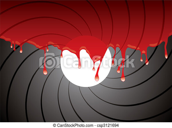 gun barrel inside blood - csp3121694