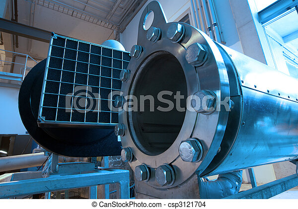 Pipes, tubes, machinery and steam turbine at a power plant - csp3121704