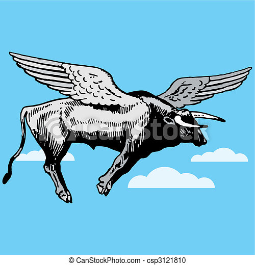 bull with wings flying - csp3121810