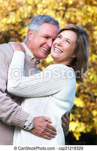 Happy senior couple in park. - csp31218329