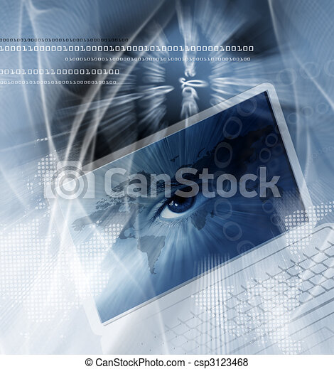 Technology background with computer - csp3123468