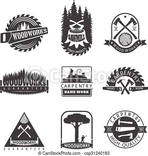 sawmill and woodwork vintage logos - stock illustration, royalty free ...