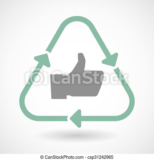 Line art recycle sign icon with a thumb up hand - csp31242965