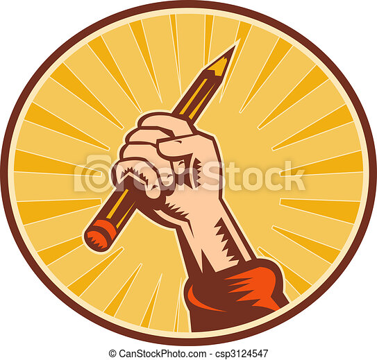 Hand holding pencil with sunburst set inside an oval - csp3124547