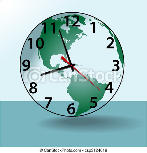 Eps vectors of earth world travel time clock globe a travel clock is a csp3124619 search - Wereld kruk ...
