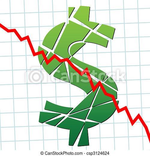 Weak broke dollar US currency money - csp3124624