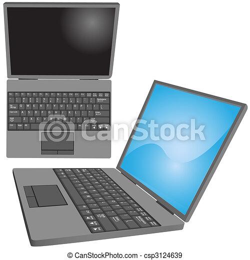 Laptop computer keys keyboard top side views - csp3124639