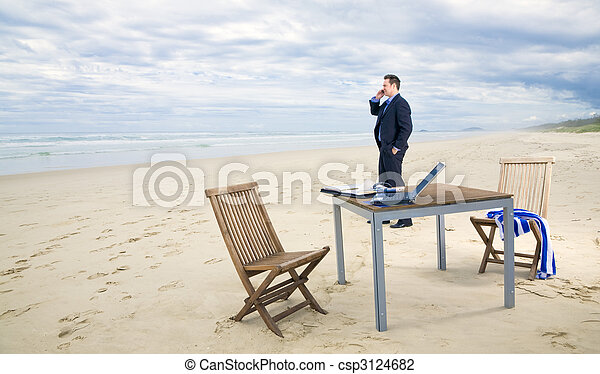 Business man with office on the beach - csp3124682