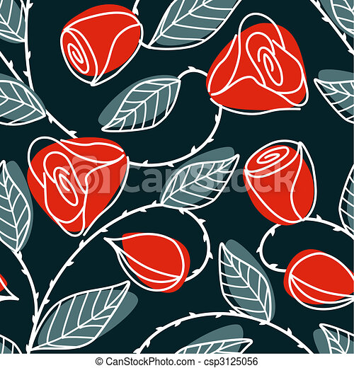 Seamless hand drawn pattern with large red roses - csp3125056