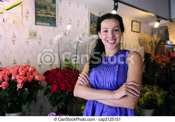 happy owner of a flower shop - csp3125151