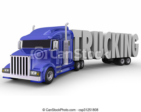 Stock Illustration of Trucking 3d Word Tractor Trailer Truck ...