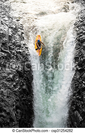 Courageous Kayaker In A Vertical Diving Position