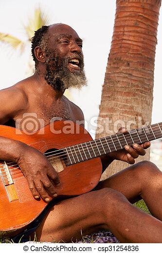 Old Black Men Playing Guitar