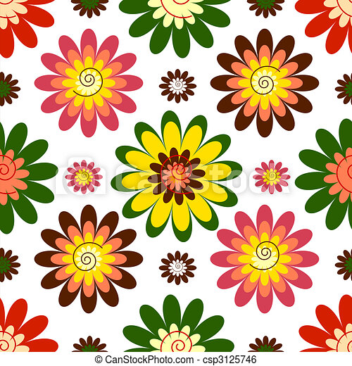 Seamless floral vivid pattern (vector) - csp3125746