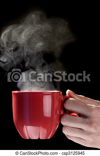 Little red tea cup in woman hand
