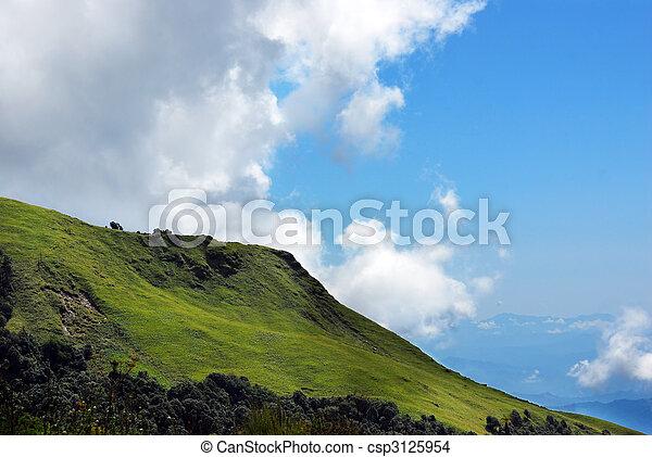 mountain landscape panoramic at himalayas nepal - csp3125954