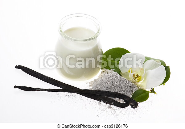 vanilla beans with aromatic sugar, milk and flower - csp3126176