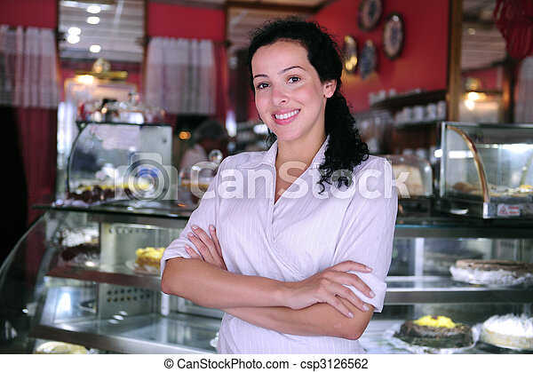 proud and confident owner of a small pastry store - csp3126562