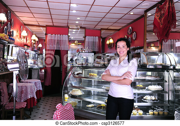 proud and confident owner of a small pastry store - csp3126577