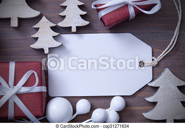 Christmas Label Copy Space Gift And Tree