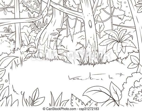 Vector Of Jungle Forest Cartoon Coloring Book Vector