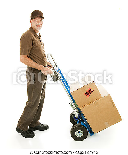 Delivery Man or Mover with Dolly - csp3127943
