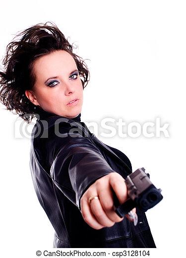 photo de tenue femme cuir sur fusil usure fond blanc femme csp3128104 recherchez. Black Bedroom Furniture Sets. Home Design Ideas