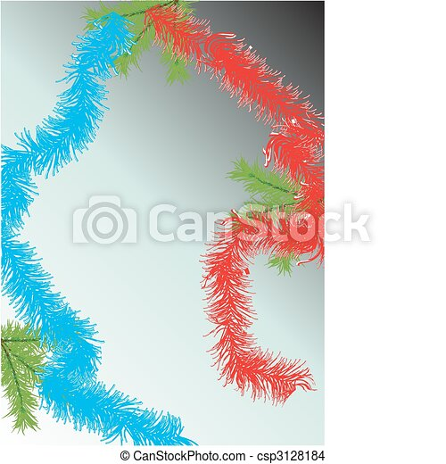 Fur-tree branch and tinsel.Vector  - csp3128184