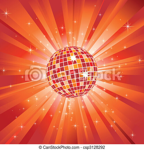 Sparkling disco ball on orange light burst and glitter stars - csp3128292